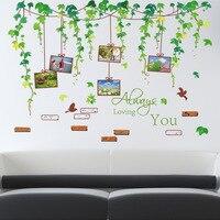 Grande taille vert feuille de vigne cadre cadre autocollant chambre salon fond décoration stickers muraux