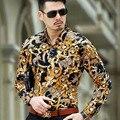 2016 Мужская Печати Леопарда Рубашки Шелковый Барокко Мужская Одежда Люксовый Бренд Золото Рубашке Abbigliamento Uomo Heren Kleding Тонкий
