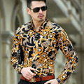 2016 Mens Leopard Print Dress Shirts Silk Baroque Mens Clothing Luxury Brand Gold Chemise Abbigliamento Uomo Heren Kleding Slim
