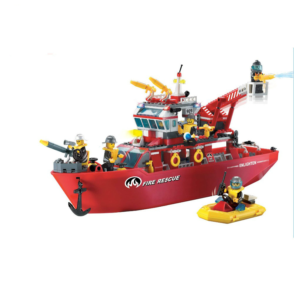 359pcs Enlighten Building Block Fire Rescue Multi-Function Fire Ship 6 Firemen Educational Toy Gift for 3D MODEL DIY 607pcs enlighten building block fire rescue scaling ladder fire engines 5 firemen educational diy toy for children