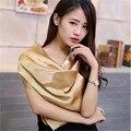 90 см * 90 см 2016 Большой Шелковая Косынка Женщины Моды Марка Высокого Качества имитация шелковый атлас полотенце полиэстер сплошной цвет sh