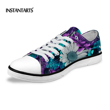 INSTANTARTS Fashion Men's Canvas Shoes Purple Floral Pattern Lace Up Male Vulcanize Shoes High Quality Men Low Causal Flat Shoes