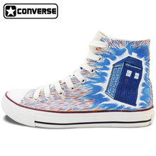 Custom Design Converse All Star Tardis DW Galaxy High Top White Canvas Sneakers Personalized Christmas Gifts Men Women