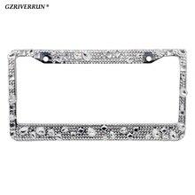 1x License Plate Frames Screw Cap Crystal Diamond Rhinestone Bling Mix Clear