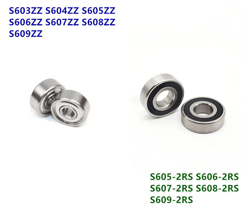50pcs/lot ABEC-5 440C Stainless Steel Bearings S603 S604 S605 S606 S607 S608 S609  ZZ - 2RS Deep Groove Ball Bearing