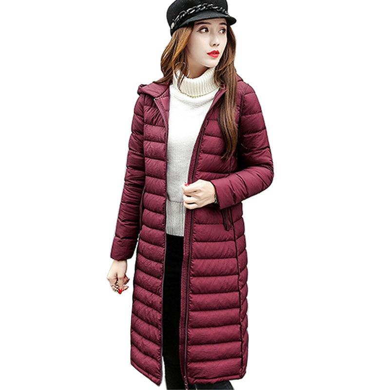 New Women Down Jacket 2017 New Autumn Winter long Coats White duck down turn-down collar plus size outerwear 8L50