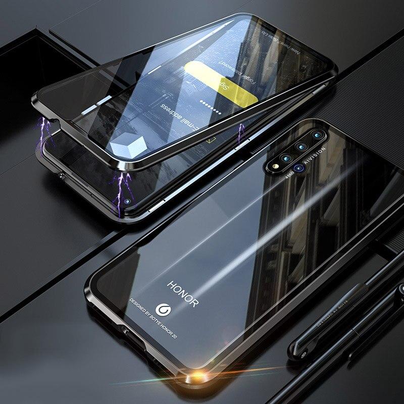 De Corpo inteiro Tampa Do Caso À Prova de Choque Para Huawei honor Caso Tampa de Metal Do Bu 20 honor 20 Pró Fonte de Vidro & Back casos de Proteção de vidro