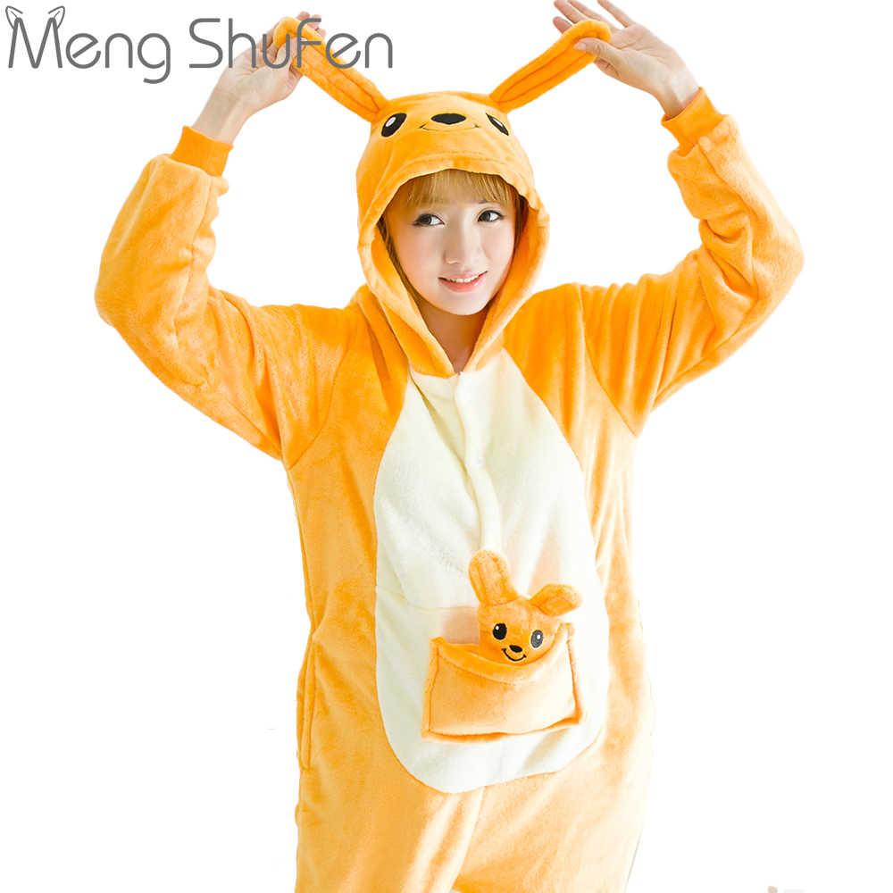 7757b96ac Winter Cute Anime Women Pajamas Adult Cartoon Animal Onesie Kangaroo Pajamas  Sleepwear Costume Flannel Hooded Pajamas