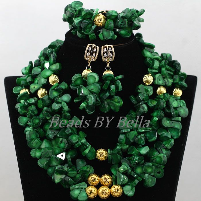 African Wedding Beads Necklace Green Coral Nigerian Bridal Jewelry Sets Trendy Coral Fashion Jewelry Set Free Shipping ABK079 african wedding beads necklace green coral nigerian bridal jewelry sets trendy coral fashion jewelry set free shipping abk079