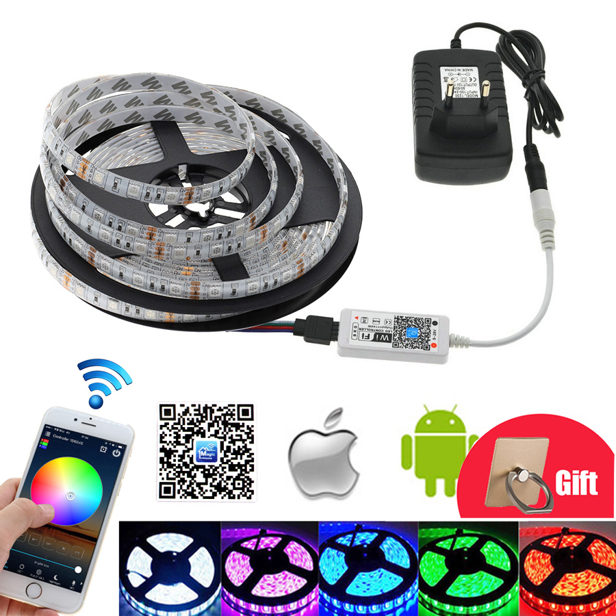 LED Strip set 5 meter RGB LED Strip Home Decoration Neon Light Mini Wifi RGB LED Controller DC 12V Power Adapter for ketchen good group diy kit led display include p8 smd3in1 30pcs led modules 1 pcs rgb led controller 4 pcs led power supply
