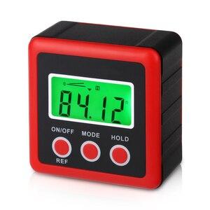 Image 3 - Inclinomètre de rapporteur numérique de précision rouge boîte de niveau étanche à leau boîte de biseau de détecteur dangle numérique avec Base magnétique