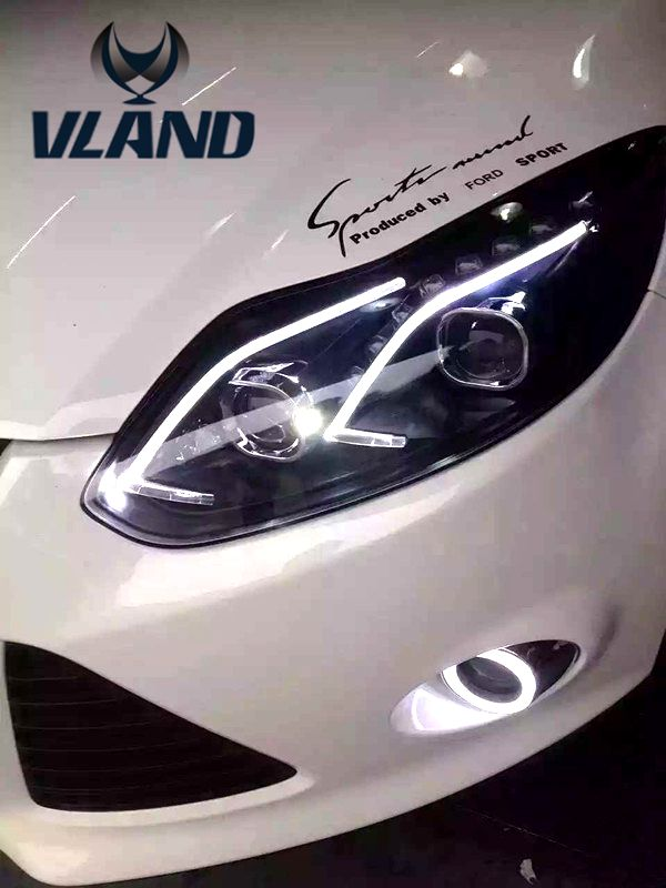 Free shipping vland factory headlamp for focuss LED headlight 2012 2013 2014 (L+R)1set led bar and plug and play design free shipping for vland car head lamp for hyundai elantra led headlight hid h7 xenon headlamp plug and play for 2011 2013