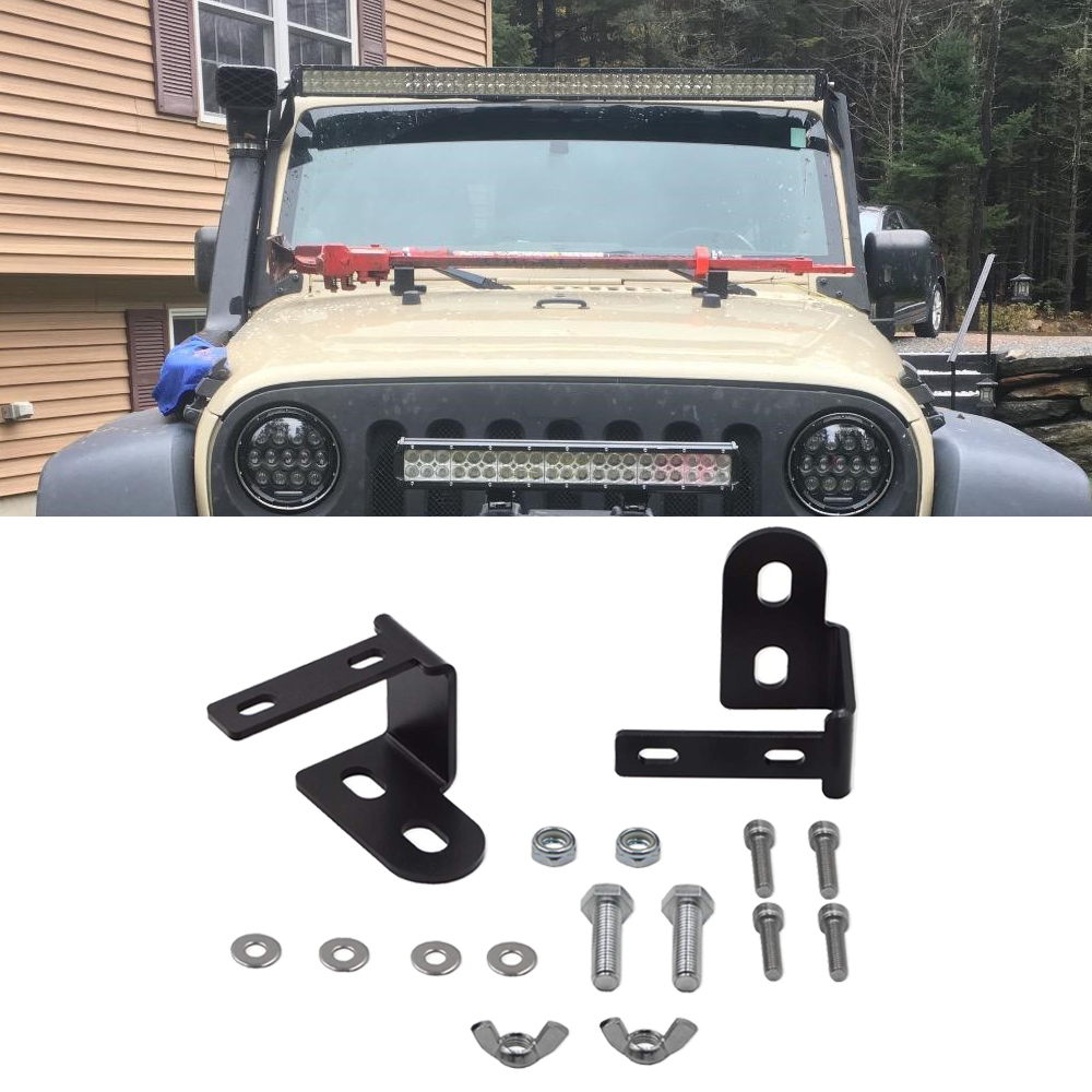 Upper Hood Hi-Lift Jack Hood Mount Brackets Fit Jeep Wrangler JK 2007-2017
