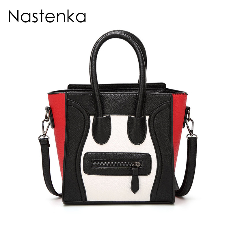 Nastenka Luxury Women Leather Handbags Smiley Bag Trapeze Bag Shoulder Crossbody Bags Famous Designer Brand Handbag Sac a Main handbags women trapeze bolsas femininas sac lovely monkey pendant star sequins embroidery pearls bags pink black shoulder bag