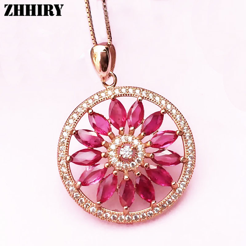 Natural Red Ruby Necklace Pendant Chain Genuine Gem Stone Women Fine Jewelry 925 Sterling Silver Sunflower jzn0007 top quality blue opal gem silver necklace new trendy necklace for women fine jewelry gorgeous unisex chain necklace