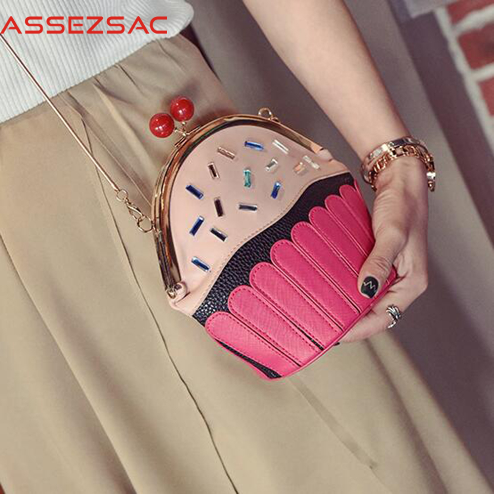 Assez sac fashion women messenger bags 2018 women handbags female leather handbag cake print bag clutch pouch bolsas DH0298 2017 new fashion female handbags famous brands sac women messenger bags women s pouch bolsas purse bag ladies leather portfolio