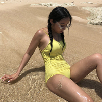 One Piece Swimsuit Women Sexy Bikini Set Swimming Suit For Plus Size Beach Girls New Pure Color Big Back Lady Easy Cover Her