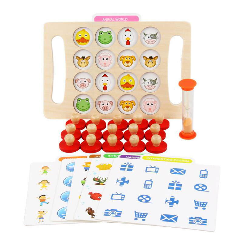 Wooden Pairing Game Puzzle Toys Children Montessori Bear Memory Chess Oyuncak Oyuncaklar Brinquedo Brinquedos Juguetes