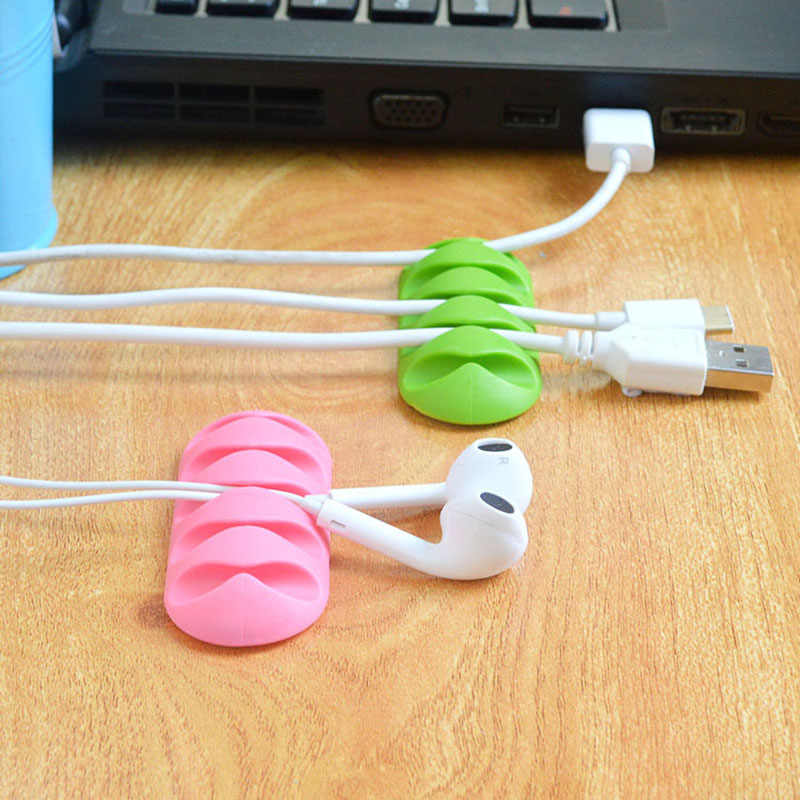 2Pcs Rubber Desktop Phone Cable Winder Earphone Cable Winder Charger Organizer Charger Earphone Fixing Clips Cable Holder 5Clips