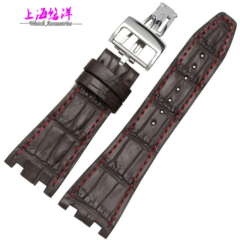 Genuine alligator leather watch strap for men A P 28mm brown