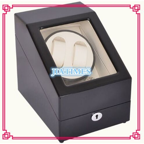 High Quality 2+3 Black+White Watch Winder Wood Case Box Carbon Fiber PU