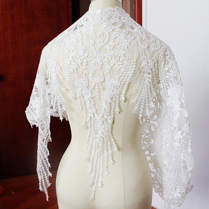 2Yards 60cm Off White Luxusní Sequins Šicí příslušenství Výšivky Svatební krajka Trim Tkanina Svatební šaty Krajky Applique