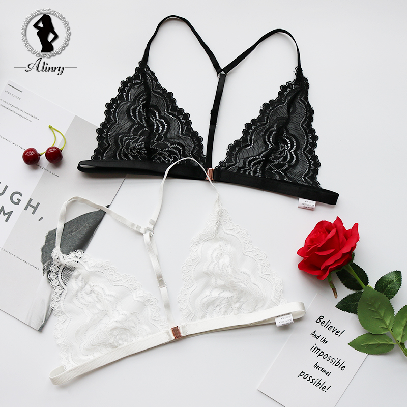 Buy ALINRY Sexy Bra Seamless Lace Unlined Women Bralette Lingerie Adjustable Front Closure Brassiere Intimates Halter Underwear Bras