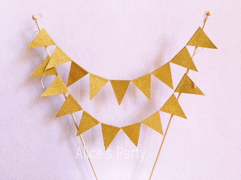 Hot sale gold birthday party cake banner flash paper 2 ...
