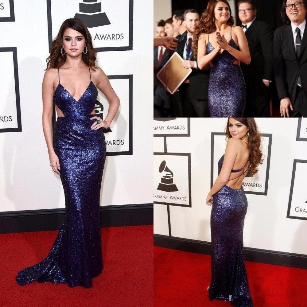 2016 Selena Gomez en robe de soirée sexy longue bleu dos découpé