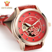 OUYAWEI Brand Women Watches Skeleton Mechanical Automatic Women Wrist Watches Leather Ladies Fashion Clock Relogio Feminino