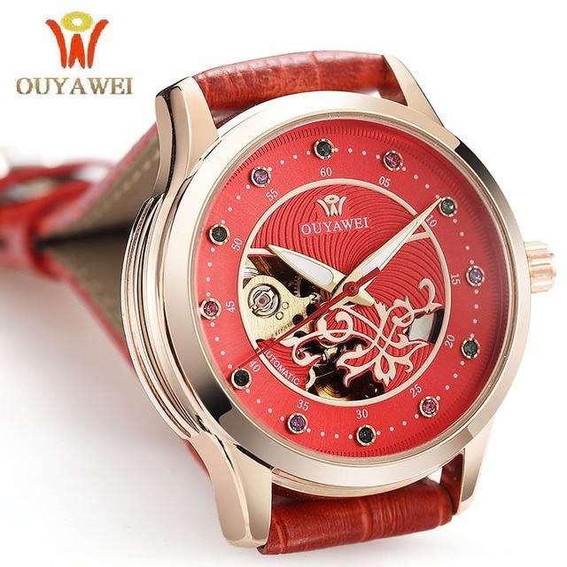 Бренд OUYAWEI Для женщин Часы Скелет Механическая Автоматическая Для женщин наручные Часы кожа Дамская мода часы Relogio feminino