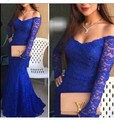Royal Blue 2016 vestido de noche largo de la manga del hombro Hot azul vestidos fuera del hombro vestidos De manga comprida Fiesta