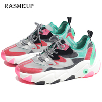 RASMEUP Women's Platform Sneakers Genuine Leather Mesh Women Chunky Shoes 2019 Luxury Design Breathable Ladies Casual Trainers
