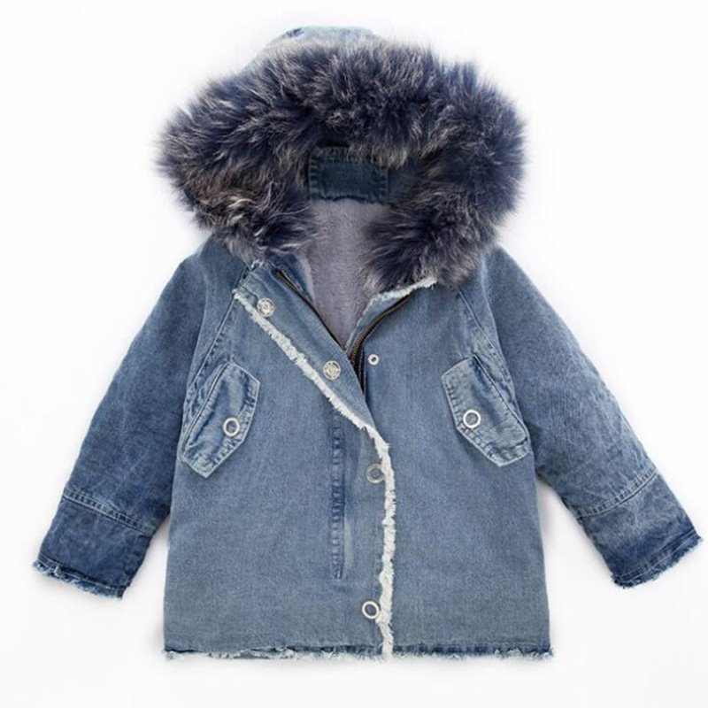 Winter girls fur hooded cowboy jacket for boys girls thick warm collar coat for boys kids outwear teens children clothes 2018 children autumn and winter warm clothes boys and girls thick cashmere sweaters