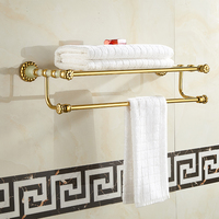 Bathroom Thickness Dual Layer Double Towel Racks Copper Jade Wall Mounted Fixed Towel Shelves Towel Holder Bathroom Ancessories