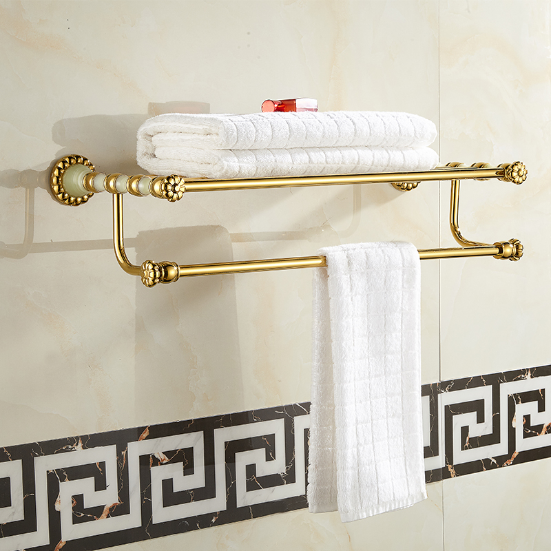 Bathroom Thickness Dual Layer Double Towel Racks Copper Jade Wall Mounted  Fixed Towel Shelves Towel Holder Bathroom Ancessories fully copper bathroom towel ring holder silver