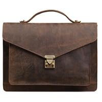Genuine Leather Briefcases Men Laptop Men Bags Vintage Business Male Messenger Bags High Quality Crazy Horse