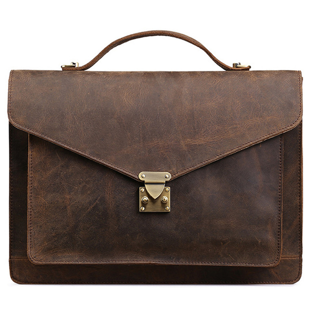 Genuine leather briefcases men laptop men bags vintage business male Messenger Bags High quality Crazy horse leather travel bags