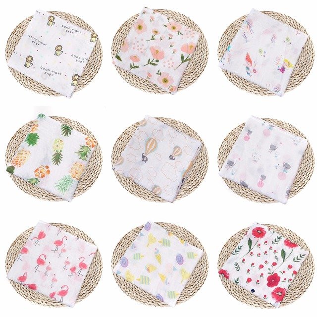 Puseky 110x110cm Newborn Baby Cotton Fruit Plant Animal Soft Muslin Swaddle Shower Bath Towel Blanket Wrap Cloth Bedding Cover