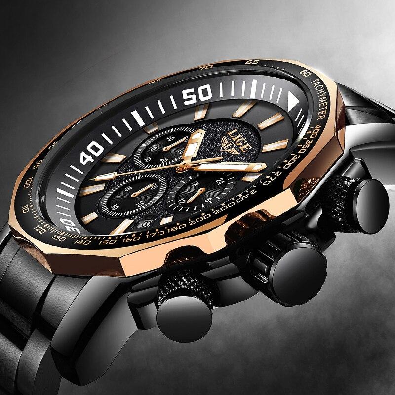 Relogio Masculino Men Watch LIGE Top Brand Luxury Fashion Quartz Clock Men's All Steel Waterproof Big Dial Military Sport Watch
