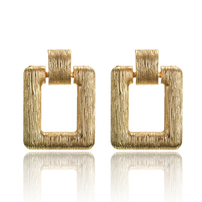 2019 Geometric Texture Metal Pendant Vintage Earrings For Women Of Gold Personality Fashion Jewelry