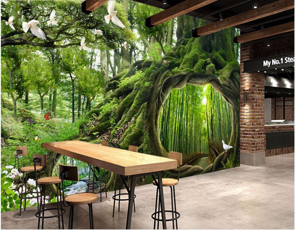 Custom Mural Photo 3d Room Wallpaper Magic Forest Pigeon Trail Painting 3d Wall Murals Wallpaper For Wall 3 D