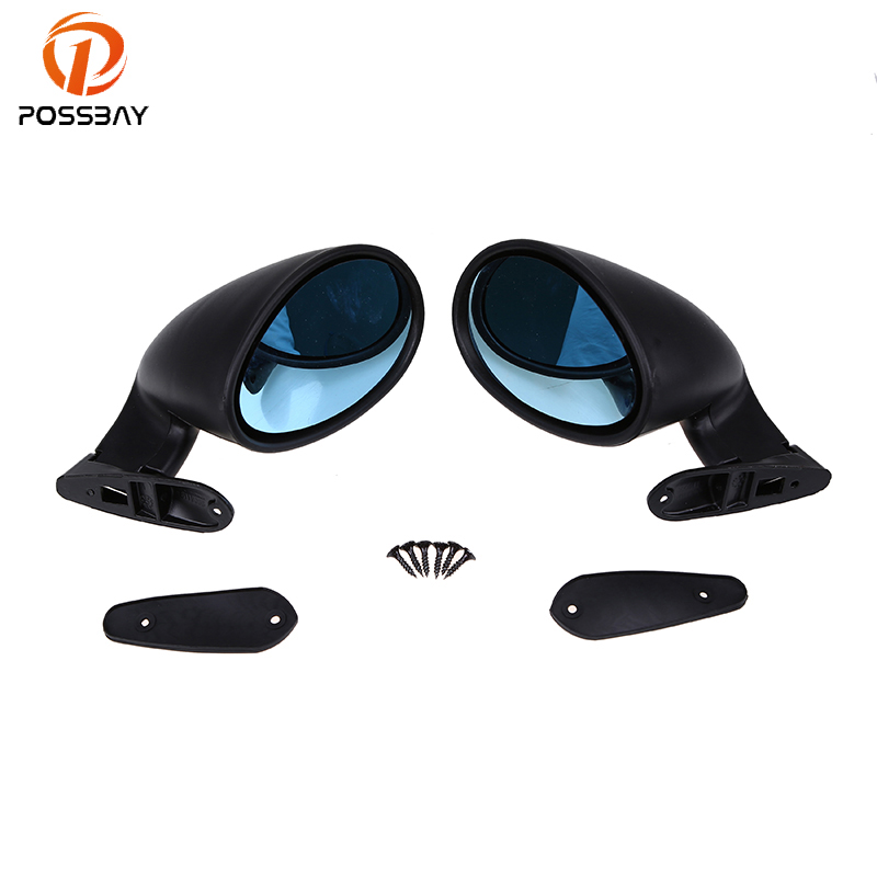 POSSBAY Blue/White Blind Spot Mirror Classic Vintage Automobiles Door Side Rearview Mirrors Left/Right Door Front Side