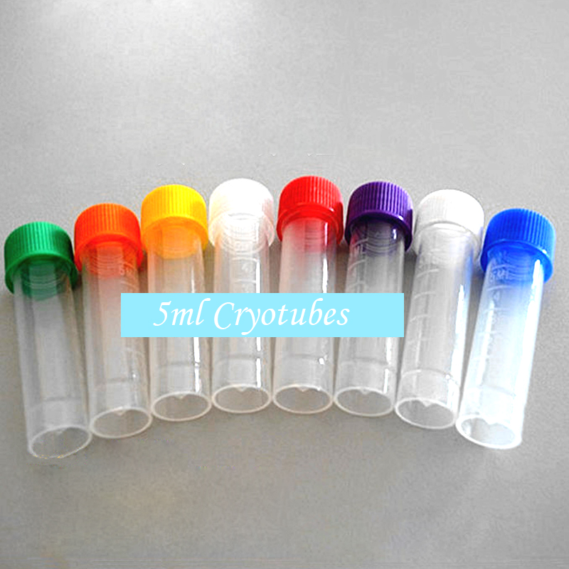 50 Pcs 5ml Cryotubes With Scale Scrub Wall Screw Capsule With Washers PP Bottles Blending Lab Analyze Centrifuge Serum Tubes