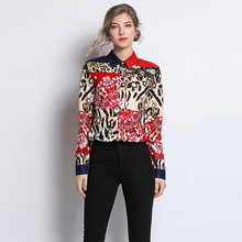 2019 New Spring Fashion Women Blouses Casual Stylish Plaid Leopard Floral Print Turn-down Collar Long Sleeves Shirts Chiffon stylish women s evening bag with leopard print and plaid design