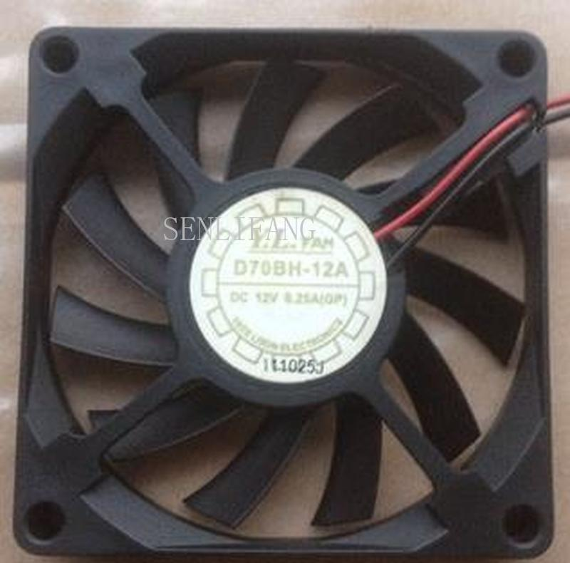 For 7010 D70BH-12A 12V 0.25A 2 Wires Ball Beaering Cooling Fan,7cm Cpu Fan