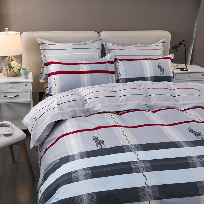 Solstice Home Textile Bedding Set 100%Cotton Kid Teen Boy Girl Linen Stripe Scottish Plaid Duvet Cover Pillowcase Flat Bed Sheet