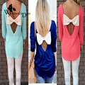 WomensDate Fashion Women Spring O-Neck Long-Sleeve Halter Backless With Big Bow Slim Sexy Perspective Chiffon Shirt
