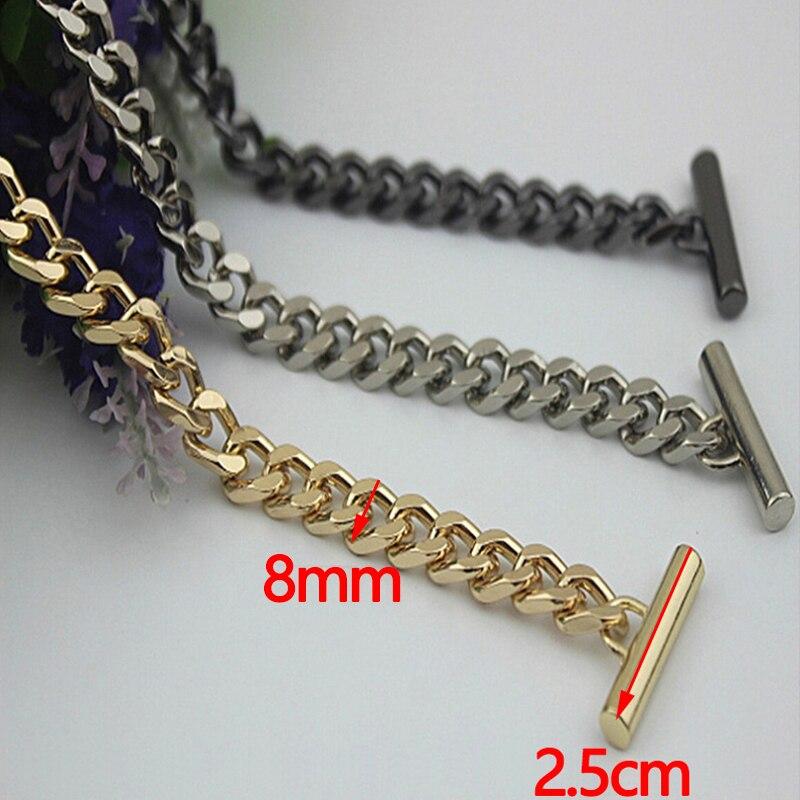 120cm (DIY 40cm-160cm) 8mm Gold, Silver, Gun Black Metal Replacement Chains Shoulder Bag Straps, Purse Handles with OT Clasps