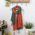 8 цвета Большой размер зима шарф этническом стиле Pathwork женщин шарфы Высокое качество новый бренд теплый кисточки хлопок шаль lxy045